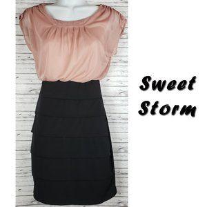 Sweet Storm Black & Blush Bodycon Dress Size Small